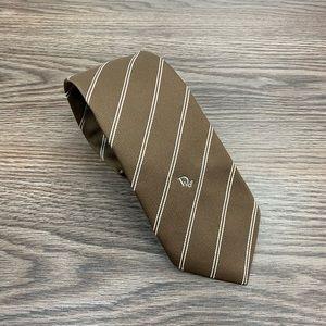 Christian Dior Tan w/ White Stripe Tie
